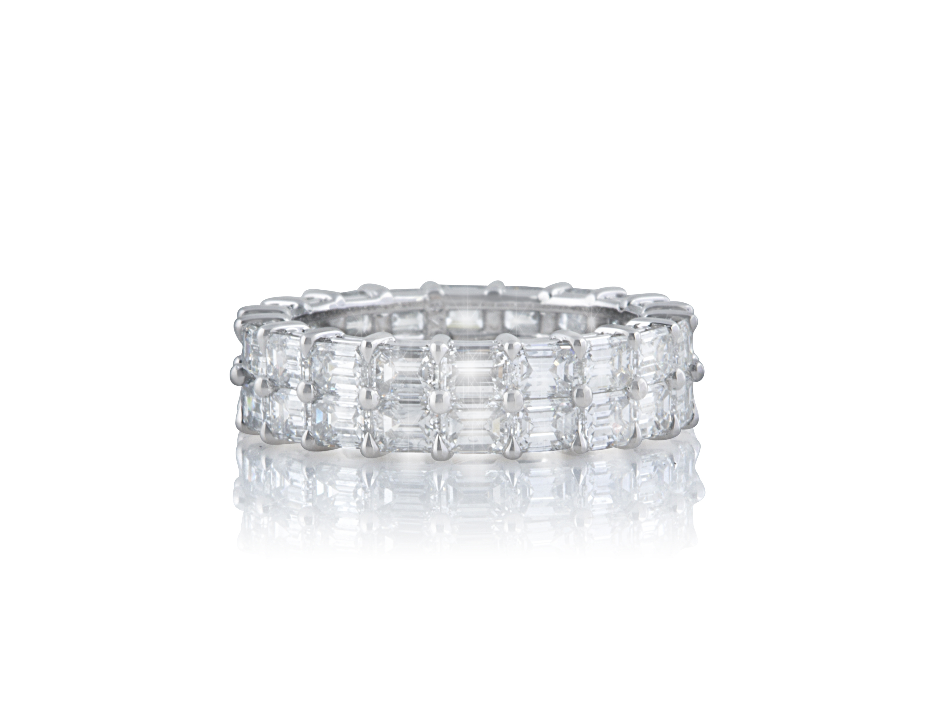 platinum jewelry eternity band fine diamond cut emerald bands